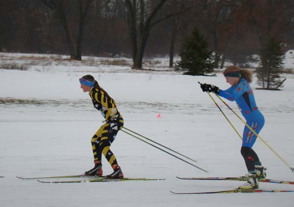Erin Lipp and Sarah Goble finish 1-2 at the REI Frosty Freestyle XC Ski Racer