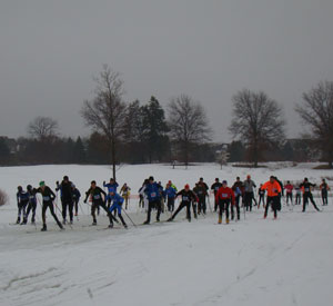 5k men's start at the Frsoty Freestyle xc ski race