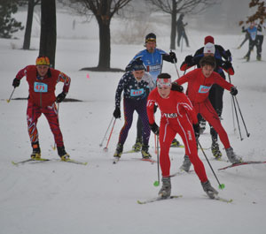 Ali Crocker, top women at the Frosty Freestyle cross country ski race