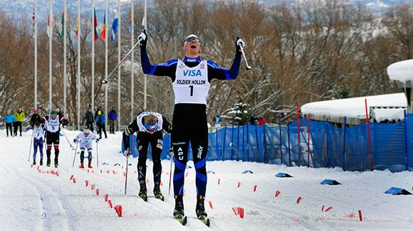Reese Hanneman (Anchorage; APU Nordic) took his career first title Friday, winning the classic sprint over APU teammate Erik Bjornsen (Winthrop, WA) at the 2014 U.S. Cross Country Championships at Soldier Hollow. (Tom Kelly/U.S. Ski Team)