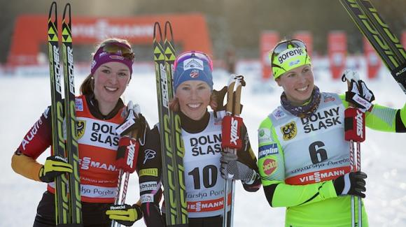 World Cup sprint champion Kikkan Randall topped every one of her heats Saturday to take her 10th World Cup victory in the Szlarska Poreba sprints. (Getty Images/AFP/Bartek Wrzesniowski)