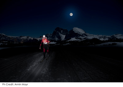Moonlight Classic cross country ski race on the Alpe di Siusi in Italy