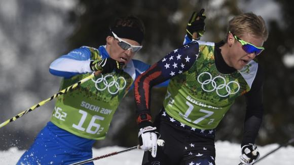 Erik Bjornsen (right) anchored Team USA with Simi Hamilton to ski into sixth place Wednesday during the men's team sprint classic of the 2014 Sochi Olympic Winter Games. (Getty Images/AFP/Odd Andersen)
