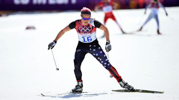Kikkan Randall, seen here at the 2014 Sochi Olympic Winter Games, took the top spot for the USA Sunday with 21st in the 10k freestyle World Cup race, the final event of the Lahti Ski Games. (Getty Images/Richard Heathcote)