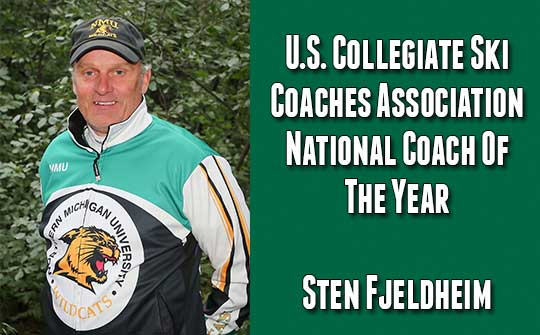 Northern Michigan University Nordic skiing coach Sten Fjeldheim has been named the United States Collegiate Ski Coaches Association National Coach of the Year