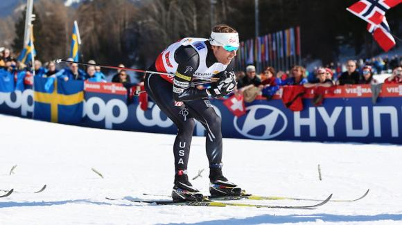 Andy Newell, seen here at World Championships, skied into 10th place after qualifying 12th at the slushy freestyle sprint in Oberhof Sunday, the second stage of the Tour de Ski. (Sarah Brunson/U.S. Ski Team)