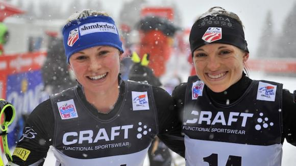 Jessie Diggins and Liz Stephen in the finish Sunday in Val di Fiemme, Italy after Stephen posted the USA's best overall Tour de Ski finish in history with seventh, skiing to the third-fastest time of the day up the 9k Alpe Cermis hill climb finale. (Getty Images/Agence Zoom/Vianney Thibaut)