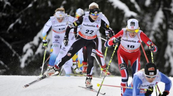 Liz Stephen posted the fifth-fastest time of the day Friday when she started from 22nd to finish 12th in the 15k pursuit stage of the Tour de Ski. (Getty Images/Agence Zoom/Vianney Thibaut)