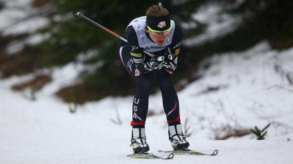 World Champion Jessie Diggins finished fifth and newcomer Sophie Caldwell (pictured) finished ninth at the women's Tour de Ski 3k prologue Saturday in rainy Oberhof, Germany. (Getty Images/Bongarts/Christof Koepsel)