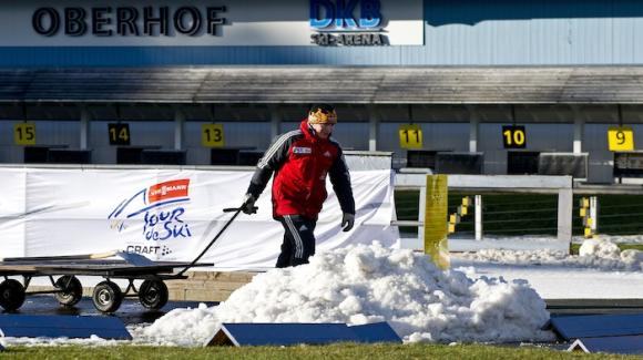 Workers prepare the course for cross country ski racing's most grueling nine days beginning Saturday in Oberhof with the opening of the eighth running of the Tour de Ski. (Getty Images/AFP/Robert Michael)