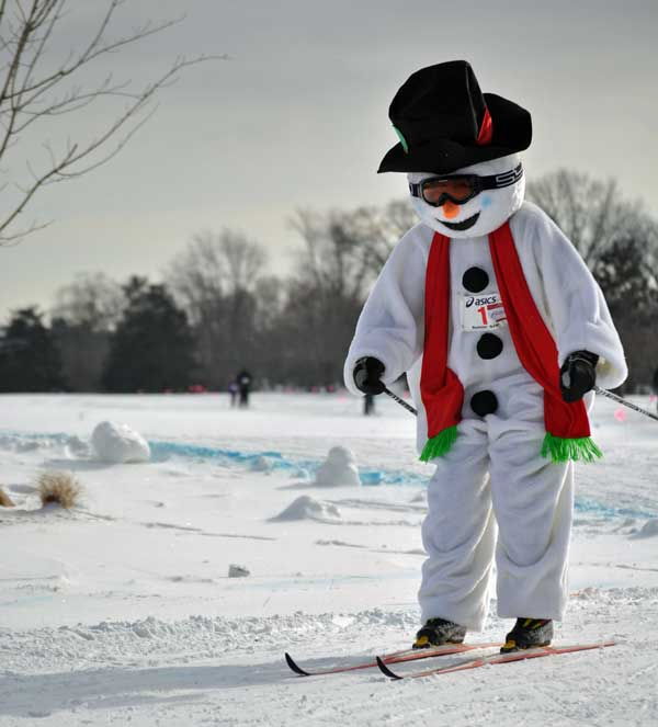 Frosty the Snowman racing in the 2015 Frosty Freestyle cross country ski race