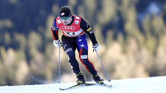 Simi Hamilton, shown here racing earlier this season in Davos, led the U.S. Cross Country Ski Team today in Ostersund, Sweden. (Getty Images/AFP-Pierre Teyssot)