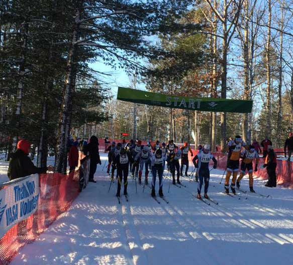 Start of the Gran Traves cross country ski race