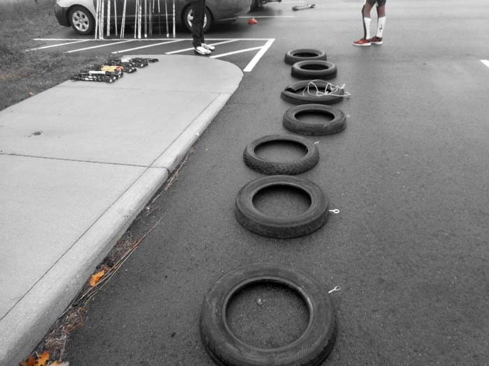 Grand Rapids roller ski race, pulling a tire 11