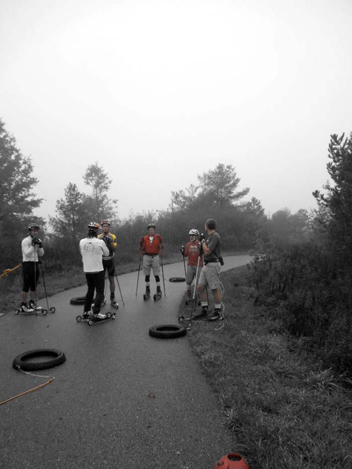 Grand Rapids roller ski race, pulling a tire 3