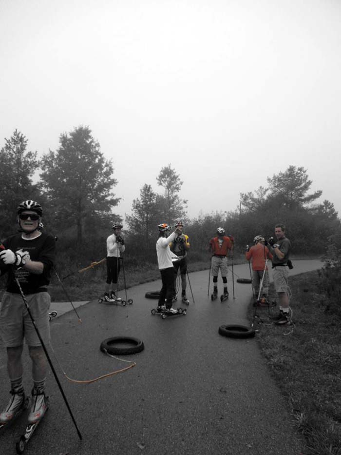 Grand Rapids roller ski race, pulling a tire 4