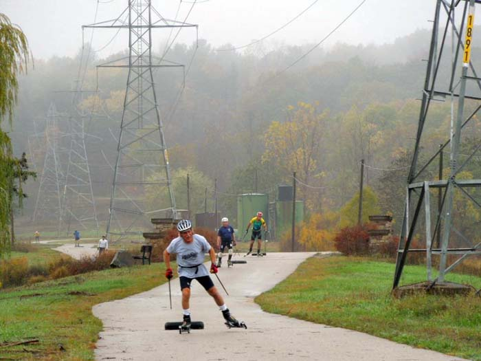 Grand Rapids roller ski race, pulling a tire 5
