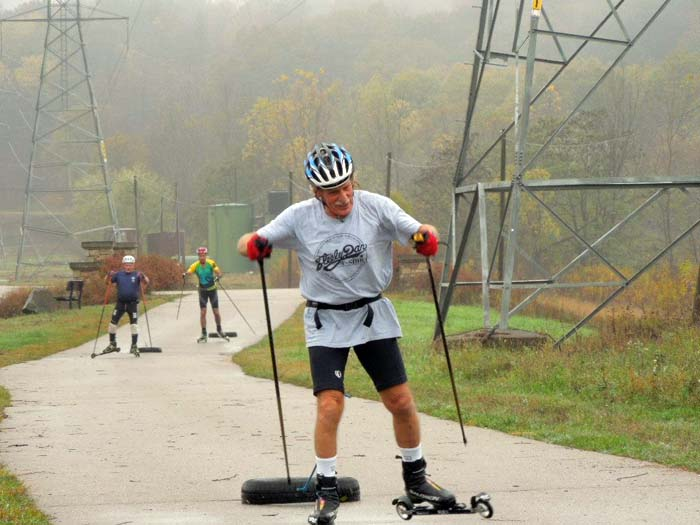 Grand Rapids roller ski race, pulling a tire 6