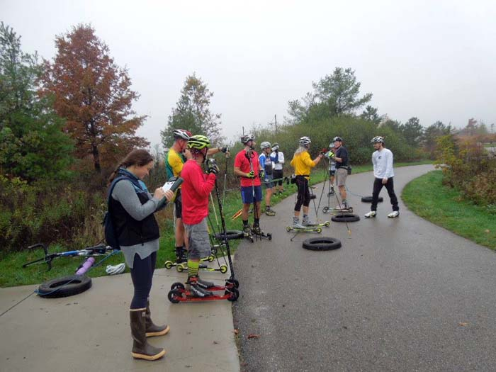 Grand Rapids roller ski race, pulling a tire 9