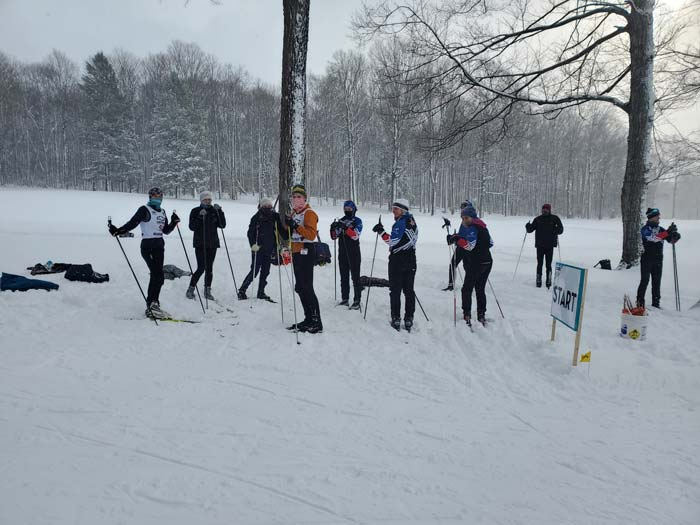 Boyne Vistas xc ski race talking before the race