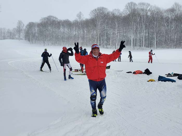Ernie Brumbaugh peace and victory at the Boyne Vistas XC ski race