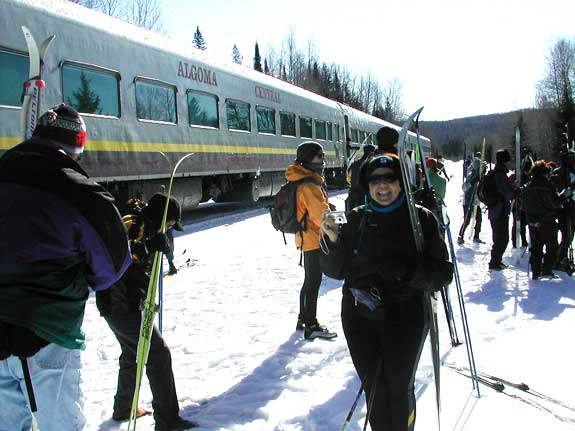 Getting of the train at the Wabos Loppet cross country ski tour