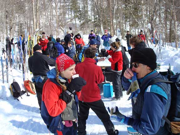 Break time at the Wabos Loppet cross country ski tour