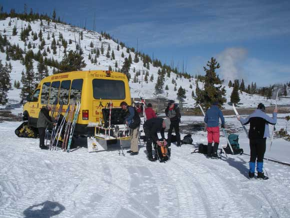 Cross country ski snow coach in Yellowstone National Park