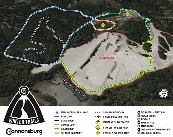 Cannonsburg new cross country ski trail map, Winter Trails