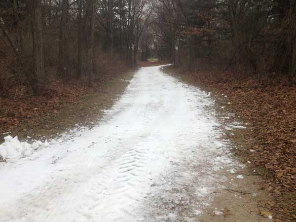 Cross country ski trail features man-made snow at Huron Meadows Metropark