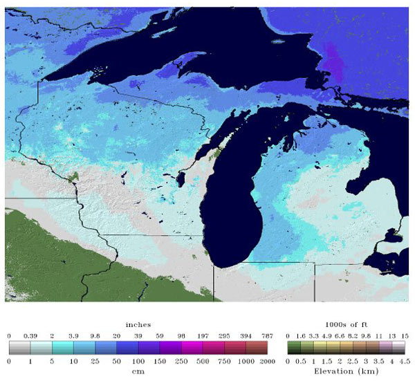 Snow depths in the great lakes region January 24, 2013