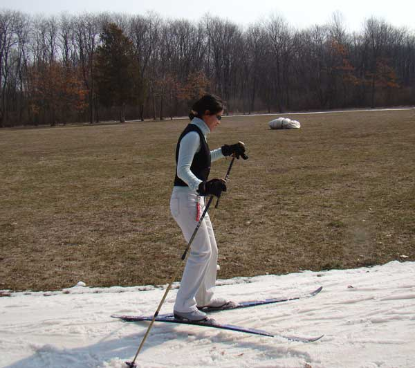 cross country skiing on April 2 at Huron Meadows