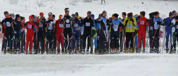 Frosty Freestyle cross country ski race start, 2014