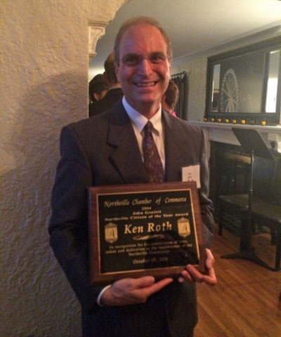 Ken Roth awarded John Genitti Citzen of the Year in Northville, MI