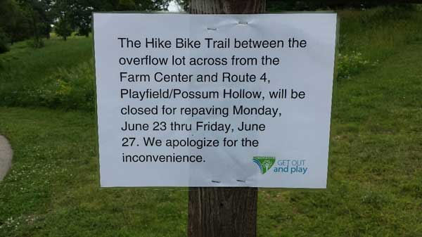 Kensington Metropark repaving project on the hike-bike-rollerski path