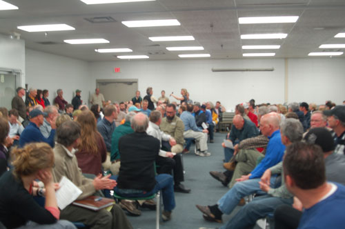 Standing room only at the DNR public meeting on mixed uses of the Vasa Pathway at the Grand Traverse County Civic Center on Monday, April 28, 2014. Credit Sara Hoover