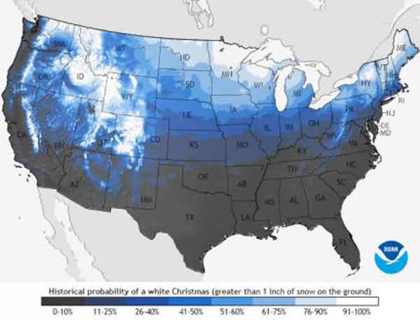 Historical probability of a White Christmas in the US