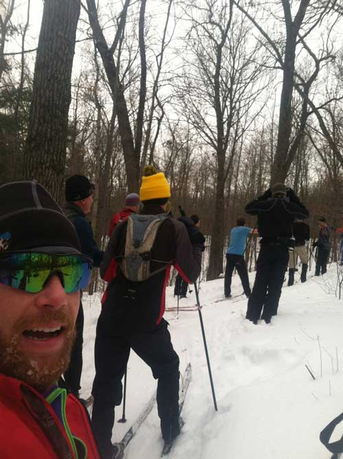 On the cross country ski trail with Stan and friends