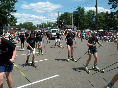 Rollerskiing in the 4th of July parade