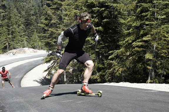 Kris Freeman rollerskiing at Whistler Mountain