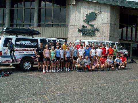 Some of the campers and staff about to head up to Lake Owen for roller and water skiing