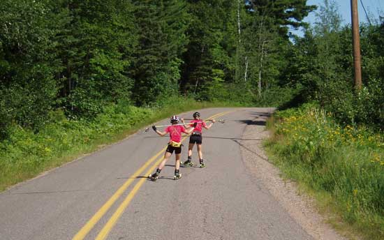 cross country ski technique drills on rollerskis