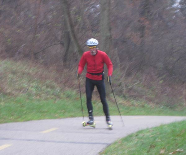 Bill Kaltz at the start of the roller ski time trial