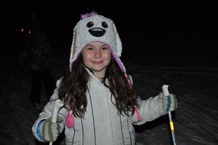 Kids learn to cross country ski at Huron Meadows