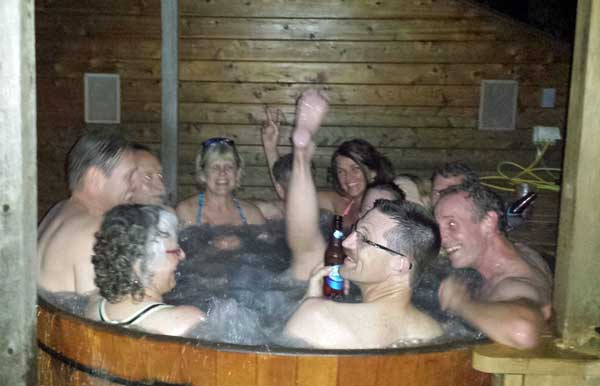 cross country skiers in the hot tub, hydrating and releasing muscle tension