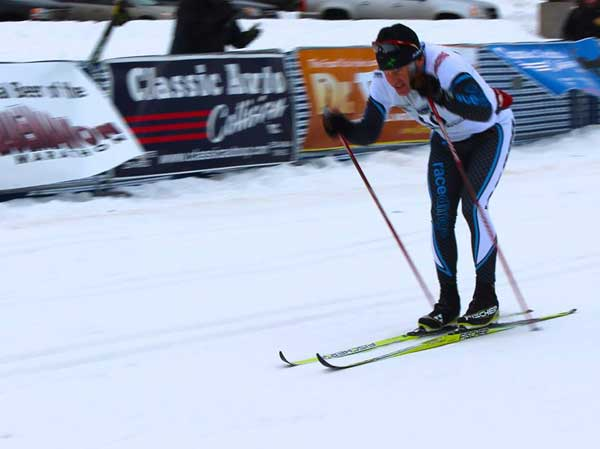 Milan Baic brings it home at the Noquemanon Ski Marathon. Milan was 4th overall and first in the Male 55 to 59 age class in teh 50k Classic division. (Photo: Francis Upton)