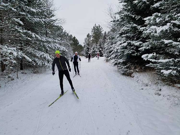 "Forbush Corner: as Guillaume Girard says, ""It may be thin, it may be uneven, but it is awesome no matter what. It's never too early for a new xc ski season. Good to see many familiar faces."""