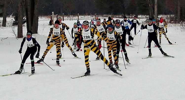 Start of the junior Cote Dame Marie Loppet at Forbush Corner.