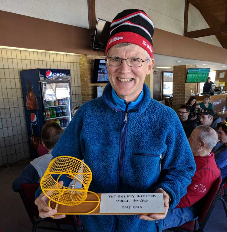 Team NordicSkiRacer Doug Heady wins the <b>Golden Hamster Wheel Award</b> for the most laps around Bucks Run at Huron Meadows Metropark in the 2017-2018 season! Rumor is he spent up to 10 hours a week doing laps all season!