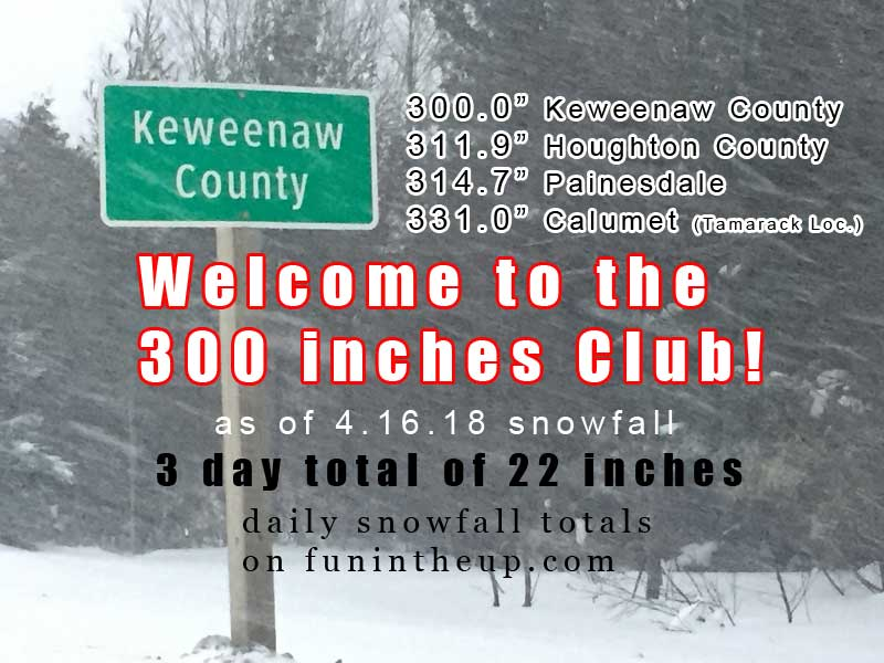 300+ inches...and it's still coming down. I think there's quite a bit of skiing left!